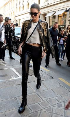 Kendall Jenner wearing Celine Nano Bag, Manolo Blahnik BB Suede Point-Toe Pumps, Celine Cl 41756/S Zz-Top in Black, The Row Moto Stretch Leather Skinny Pants, Givenchy Resort 2010 Studded Jacket and A.L.C. Leather Trim Linen Top.