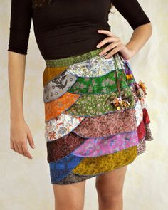 Denim hippie jean skirt recycled