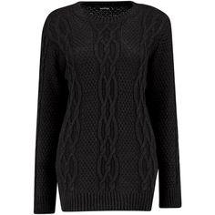 Boohoo Tamara Cable Knit Tunic | Boohoo (2.275 RUB) via Polyvore featuring tops, tunics и cable knit tunic