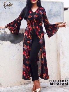Buy Powder Blue Floral Printed Crepe Front Slit Kurti Online in India Kurta Designs Women, Kurti Neck Designs, Kurti Designs Party Wear, Blouse Designs, Long Kurta Designs, Latest Kurti Designs, Printed Kurti Designs, Stylish Dress Designs, Stylish Dresses