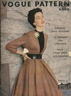 An elegant pairing of black and brown on the cover of Vogue Pattern Book, September 1952.