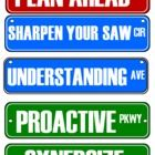 These are street signs for the halls that reflect The Seven Habits of Happy Kids...