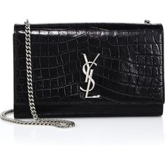 Saint Laurent. Black Monogram Medium Crocodile-Embossed Leather Chain Bag as seen on Rosie Huntington-Whiteley