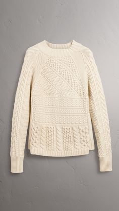 Wool Cashmere Aran Sweater in Natural White - Men | Burberry Australia Girls Sweaters, Sweaters For Women, Winter Sweaters, Cable Sweater, Cable Knit, Play Clothing, Knit Picks, Vogue Knitting, How To Purl Knit
