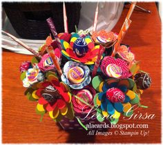 Stampin' Up! Flower Treat Holder by A La Cards: Candy Bouquet