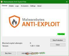 Malwarebytes Anti-Exploit 1.09.1.1334  Malwarebytes Anti-Exploit--General タブ--オールフリーソフト