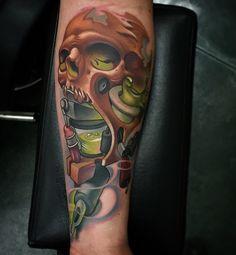 Skull Tattoo with New School Tattoo Style #Newschool #Skull #Tattoo #Tattoos www.ontattoos.com