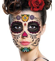 Buy Flower Sugar Skull Makeup Temporary Tattoo in Cheap Price on m ...