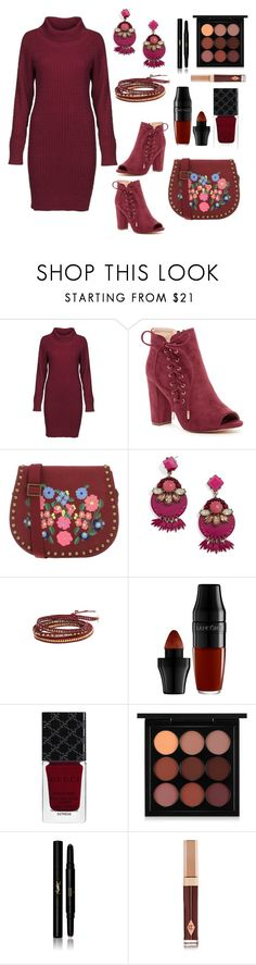Maroon by siriusfunbysheila1954 on Polyvore featuring DUBARRY, Liliana, Manoush, Chan Luu, BaubleBar, MAC Cosmetics, Yves Saint Laurent, Lancôme, Charlotte Tilbury and Gucci