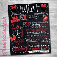 First Birthday Chalkboard Poster Minnie Mouse  by CheeriozDezigns