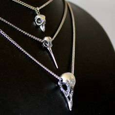 Bird Skull Necklace Cluster in Sterling Silver by mrd74 on Etsy