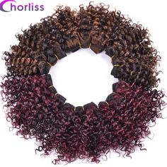 """Chorliss 8"""" Ombre Brown Weave Afro Kinky Curly Hair Weaving Synthetic Hair Extensions Crochet Hair Weft 105g/lot 3pcs/lot"""