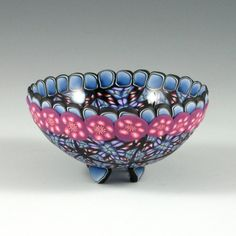 Polymer Clay Ring Bowl, Navy Blue and fuchsia, by Kate Tracton Designs