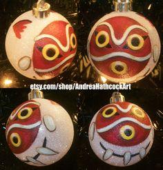 Princess Mononoke Mask Miyazaki Inspired Studio Ghibli Anime Shatterproof Hand-Painted Christmas Ornament! Name/Year add on Available! by AndreaHathcockArt on Etsy https://www.etsy.com/listing/258760798/princess-mononoke-mask-miyazaki-inspired