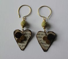 Paper Heart and Glass Beaded Earrings £8.00