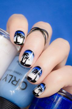 Stormy Beach Nail Art. Click for manicure how to. #nailart