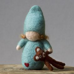 Felted child with teddy bear by Julie Blanchette