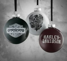 Deck the halls with these glass balls. | Harley-Davidson Set of 3 Glass Ball Ornaments