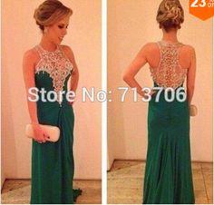 SML843 Hot selling sheath Chiffon Beaded 2015 evening gown vestido de festa long green prom dress