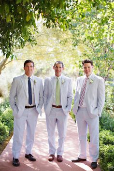 Seersucker suits: http://www.stylemepretty.com/little-black-book-blog/2014/12/01/rustic-el-chorro-lodge-wedding/ | Photography: Pinkerton - http://pinkertonphoto.com/