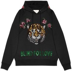 Gucci Embroidered Hooded Sweatshirt (£1,780) ❤ liked on Polyvore featuring tops, hoodies, sweatshirts, sweaters, shirts, ready to wear, sweatshirts & t-shirts, women, shirt hoodies and sweatshirt hoodies