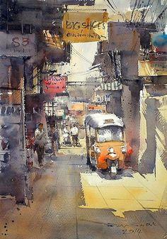 Direk Kingnok (Thai, b. 1976 Nakhonratchasima (นครนครราชสีมา), Thailand) - Sampeng Market, Bangkok 2, 2014 Paintings: Watercolors