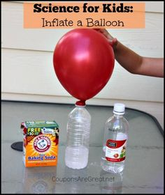 you are looking for a great science for kids experiment, use common household items to inflate a balloon. It really works!If you are looking for a great science for kids experiment, use common household items to inflate a balloon. It really works! Science Week, Summer Science, Science Projects For Kids, Easy Science Experiments, Science Party, Science Fair, Teaching Science, Science For Kids, Science Chemistry