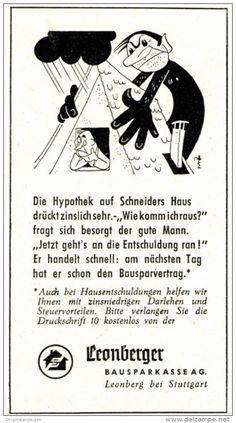 Original-Werbung/ Anzeige 1958 - CARTOON / LEONBERGER BAUSPARKASSE - ca. 50 x 100 mm