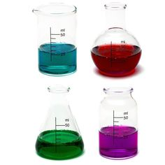 CKB Ltd® Set of 4 - Laboratory Chemistry Shot Glasses Drinks Shooters 50ml - Science Themed Novelty Lab Shaped Beaker & Flask