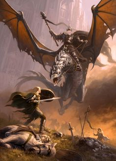 Eowyn facing the Witch King of Angmar and his fell beast.