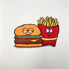 My entry to #doodlewashjune2021 daily drawing challenge. Day 22 prompt: 'Hamburger & Fries' #moleskine #hamburgerandfries Hamburger And Fries, Alcohol Markers, Daily Drawing, Drawing Challenge, Prompt, Moleskine, Doodles, Drawings, Burger And Fries