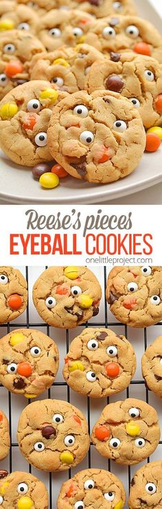 These Reese's Pieces peanut butter eyeball cookies are SO AWESOME! Such a fun treat idea for Halloween! And they taste SO GOOD! The cookies are soft, chewy and delicious! These little monster cookies are such a fun dessert to bake on Halloween! Postres Halloween, Dessert Halloween, Halloween Food For Party, Halloween Cookies, Halloween Halloween, Halloween Treats, Halloween Breakfast, Holiday Desserts, Holiday Baking