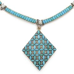 Victorian Turquoise and Diamond Pendant and Necklace. Turquoise-set necklace, ornamented with pearls set in diamond stars, suspending a lozenge-form pendant set with turquoises and diamonds. Mounted in 15ct gold. Pendant: English, ca. 1845 Necklace: English, ca. 1890