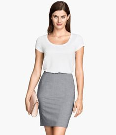 Black, gray, and blue pencil skirt