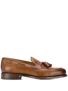Berwick Shoes classic loafers with tassel - Brown Berwick Shoes, Sperrys, Block Heels, Boat Shoes, Tassels, Brown Leather, Women Wear, Loafers, Mens Fashion