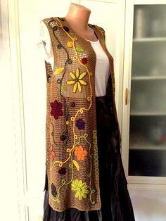 A-Line Wedding Dresses Collections Overview 36 Gorgeou… Freeform Crochet, Irish Crochet, Knit Crochet, Crochet Jacket, Crochet Cardigan, Long Vests, Mode Outfits, Crochet Clothes, Ideias Fashion