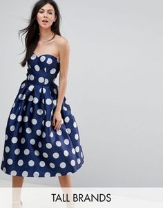 Chi Chi London Tall Structured Bandeau Midi Dress in Polkadot. Petite DressesPlus  Size ... 43b81d4ff9e2