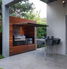 A modern minimalist outdoor kitchen.