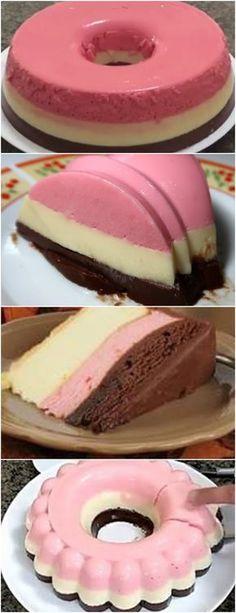 PENSA EM UMA DELÍCIA!!!PUDIM NAPOLITANO ( SEM FORNO ) VEJA AQUI>>>Pudim de Morango 1/2 caixa de leite condensado 1/2 caixa de creme de leite 100 ml de leite 1/2 sachê de gelatina #receita#bolo#torta#doce#sobremesa#aniversario#pudim#mousse#pave#Cheesecake#chocolate#confeitaria Ice Cream Desserts, Just Desserts, Dessert Recipes, Flan Cake, Flan Recipe, Sweet Cakes, Creative Food, Cake Cookies, Baking Recipes