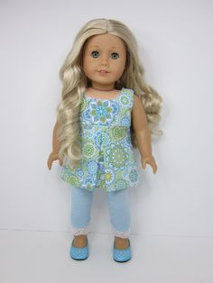 American Girl doll clothes -Blue and green mosaic flowered pleated top with light blue leggings by JazzyDollDuds.