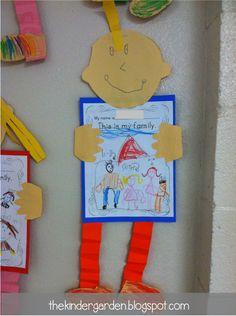 The Kinder Garden: Making Our Way Through Kindergarten Journeys Curriculum. with a FREEBIE included! Preschool Family Theme, Preschool Letters, Family Crafts, Preschool Crafts, Preschool Door, Family Activities, Journeys Kindergarten, Kindergarten Writing, Creative Activities