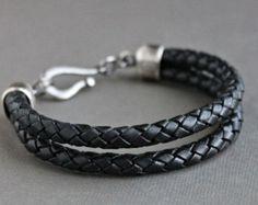 Mens Braid Bracelet, Black Leather Bracelet, Sterling Silver