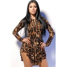 Sexy O Neck Long Sleeves Asymmetrical Leopard Print