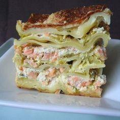 Lasagnes aux deux saumons et courgettes
