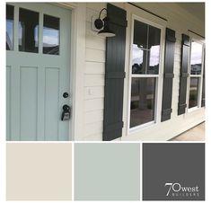 Exterior Paint Color Combinations, House Paint Color Combination, Exterior Paint Colors For House, Paint Colors For Home, Paint Colours, Exterior Shutter Colors, Exterior Paint Schemes, Blue Colors, House Shutter Colors