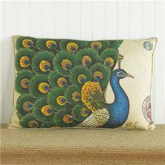 """17""""x24"""" Peacock Pillow"""
