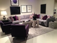 Purple and Gray Living Room Decoration. 20 New Purple and Gray Living Room Decoration. Green Living Room Ideas for soothing sophisticated Spaces Lavender Living Rooms, Living Room Decor Apartment, Purple Living Room, Apartment Living Room, Grey Sofa Living Room, Living Room Grey, Interior Design Living Room, Purple Living Room Furniture, Living Room Decor Gray