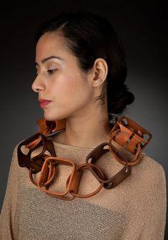 Necklace | Gustav Reyes. Square knot circle'. Wood.