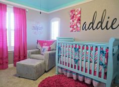 Pink and Aqua Nursery- Lacey might need this!