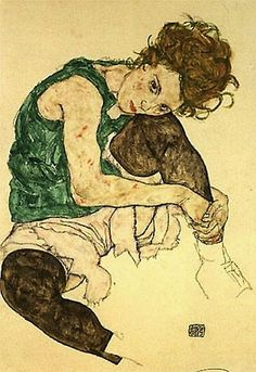"""""""Sitting Woman with Legs Drawn Up"""", also known as """"Seated Woman with Bent Knee"""" or """"The Artist's Wife"""" (1917), by Egon Schiele. Location:Narodni Galerie, Prague, Czech Rep."""